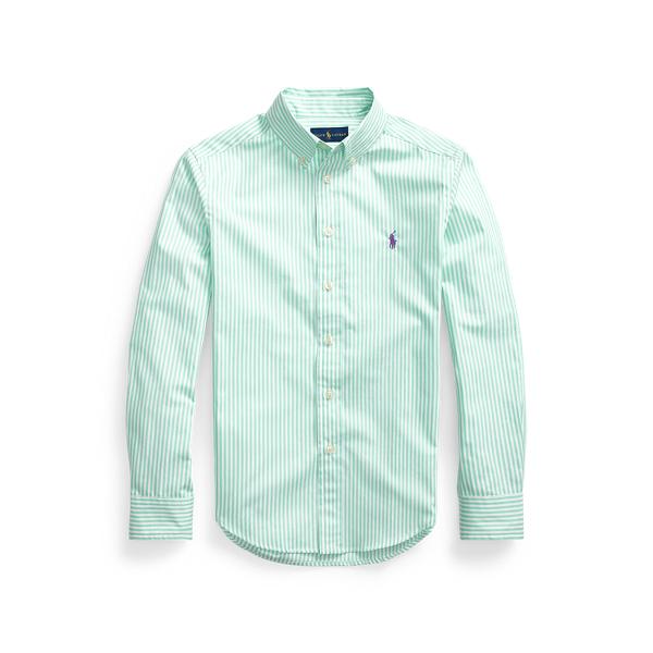 폴로 랄프로렌 보이즈 스트라이프 셔츠 Polo Ralph Lauren Striped Cotton Poplin Shirt,Lime/White