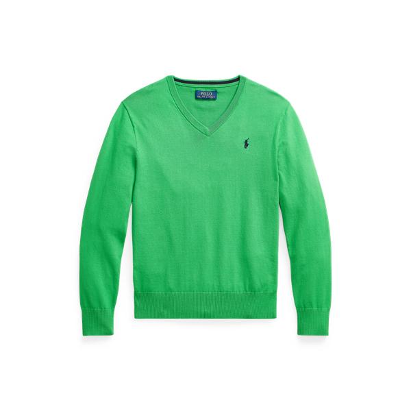 폴로 랄프로렌 보이즈 스웨터 Polo Ralph Lauren Cotton V-Neck Sweater,Golf Green