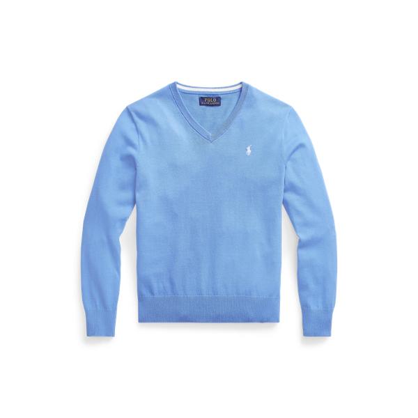 폴로 랄프로렌 보이즈 스웨터 Polo Ralph Lauren Cotton V-Neck Sweater,Harbor Island Blue