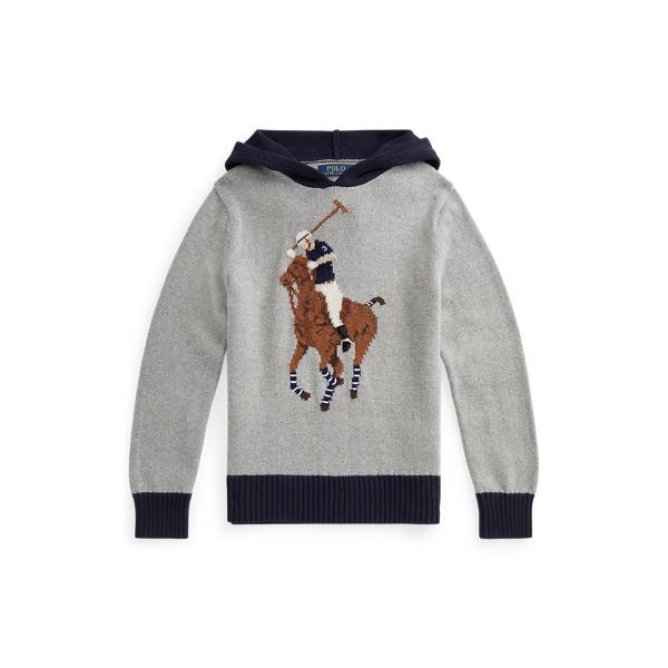 폴로 랄프로렌 보이즈 스웨터 Polo Ralph Lauren Big Pony Cotton-Blend Hooded Sweater,Andover Heather