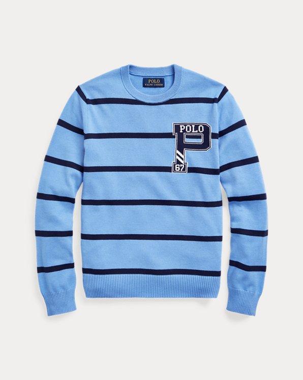 Striped Cotton Letterman Sweater