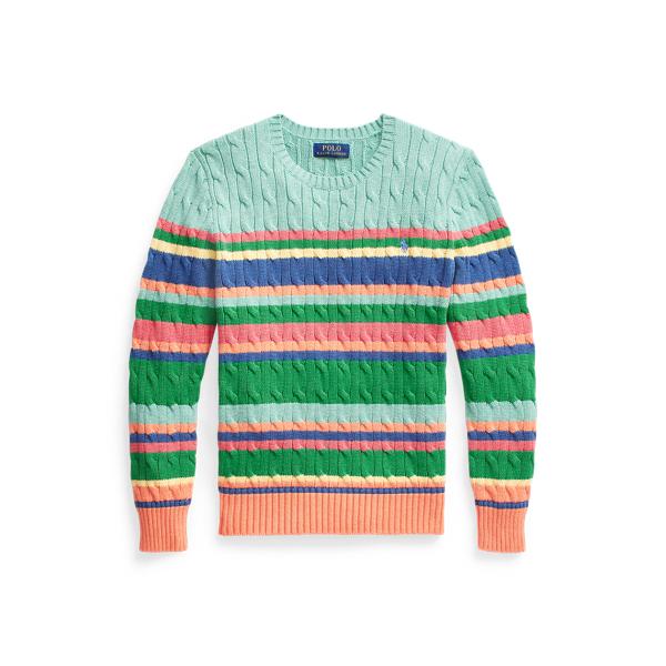 폴로 랄프로렌 보이즈 꽈베기 스웨터 Polo Ralph Lauren Striped Cable Knit Cotton Sweater,Sunset Orange Multi