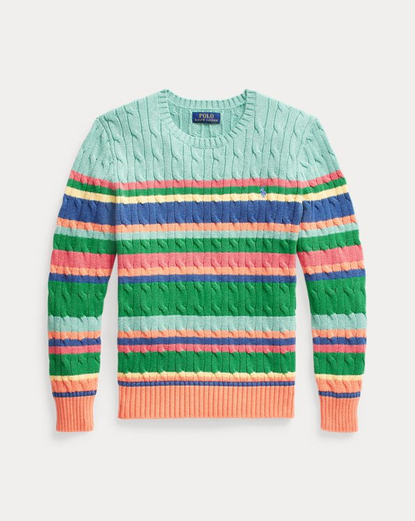 Striped Cable-Knit Cotton Jumper