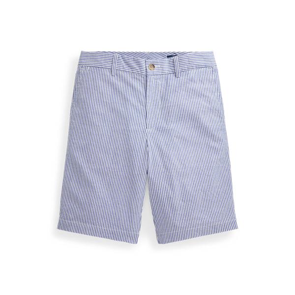 폴로 랄프로렌 보이즈 반바지 Polo Ralph Lauren Slim Fit Stretch Cotton Seersucker Short,White/Provincetown Blue
