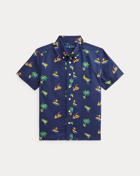 Tropical-Print Cotton Oxford Shirt
