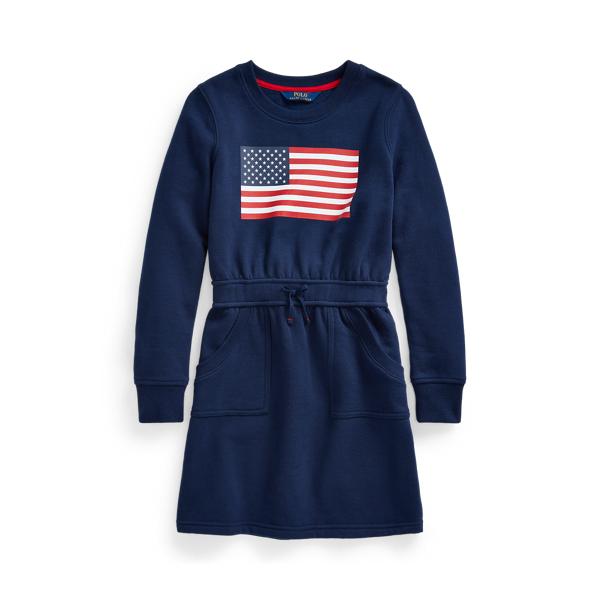 폴로 랄프로렌 Polo Ralph Lauren Flag Cotton Blend Fleece Dress,French Navy