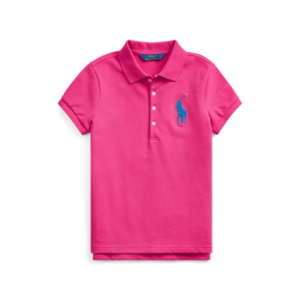 폴로 랄프로렌 Polo Ralph Lauren Big Pony Stretch Mesh Polo Shirt,Accent Pink