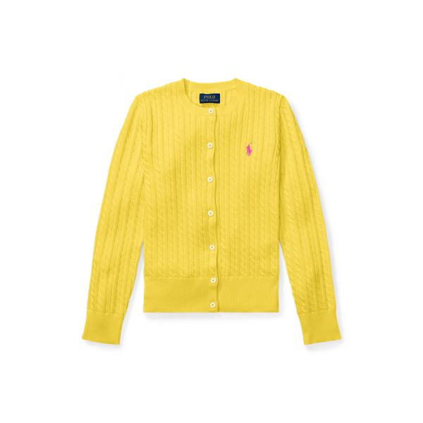폴로 랄프로렌 걸즈 미니 꽈배기 코튼 가디건 - 유니버시티 옐로우 Polo Ralph Lauren Mini Cable Cotton Cardigan 569522