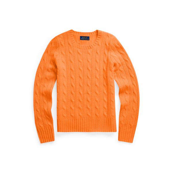 폴로 랄프로렌 걸즈 꽈배기 니트 캐시미어 444123 Polo Ralph Lauren Cable Knit Cashmere Sweater,Resort Orange