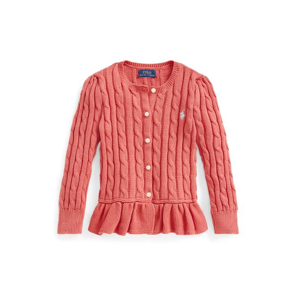 폴로 랄프로렌 걸즈 꽈배기 니트 가디건 Polo Ralph Lauren Cable-Knit Cotton Peplum Cardigan,Salmon Cast 569527