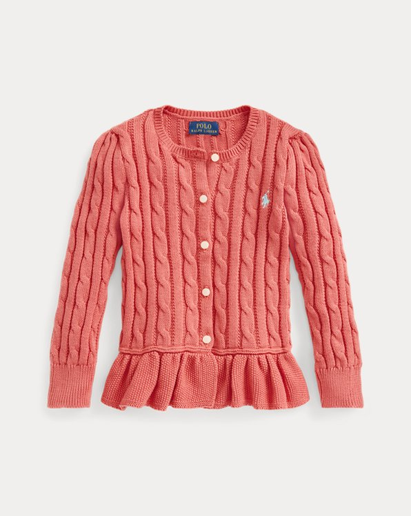 Cable-Knit Cotton Peplum Cardigan