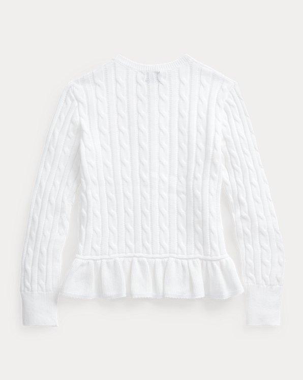 Cable-Knit Cotton Peplum Cardigan