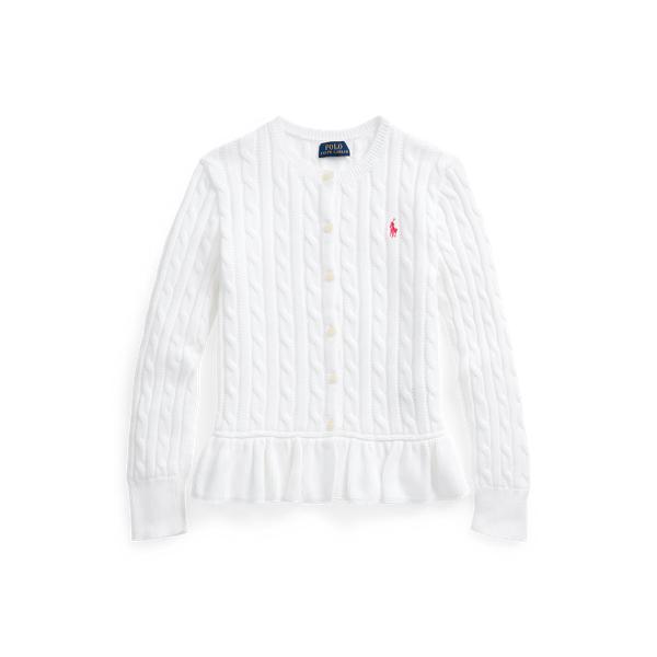 폴로 랄프로렌 걸즈 꽈배기 니트 가디건 Polo Ralph Lauren Cable-Knit Cotton Peplum Cardigan,White 569527