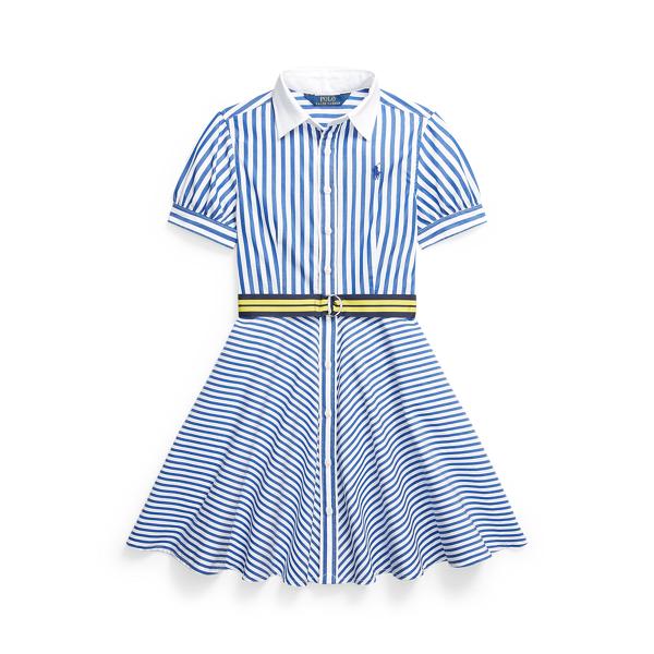 폴로 랄프로렌 Polo Ralph Lauren Striped Belted Cotton Shirtdress,Blue/White