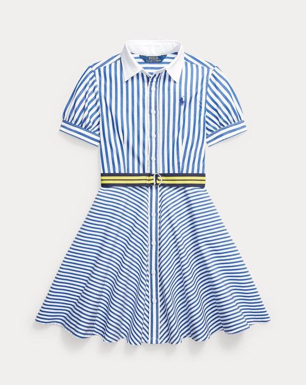 Striped Belted Cotton Shirtdress