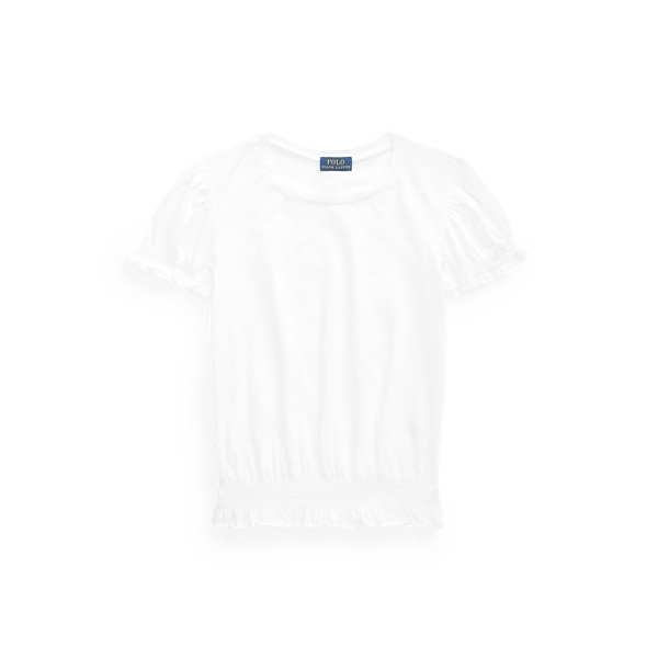폴로 랄프로렌 Polo Ralph Lauren Shirred Cotton Jersey Top,White