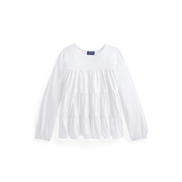 폴로 랄프로렌 Polo Ralph Lauren Tiered Cotton Jersey Top,White