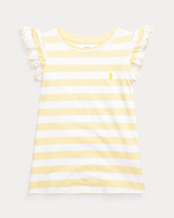 Eyelet Striped Cotton Jersey Top