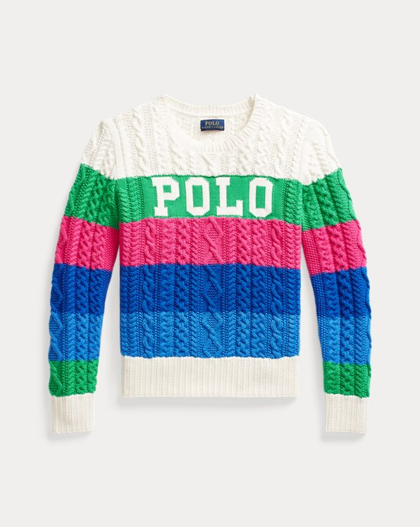 Striped Logo Cotton Sweater