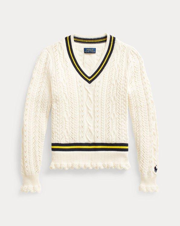Cable-Knit Cotton Cricket Jumper