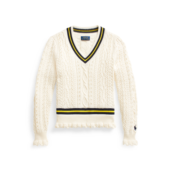 Cable-Knit Cotton Cricket Jumper