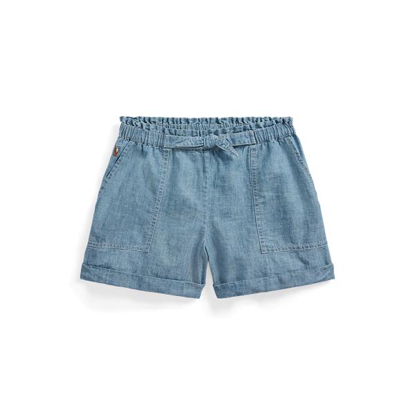 폴로 랄프로렌 Polo Ralph Lauren Cotton Chambray Paperbag Short,Blue Indigo