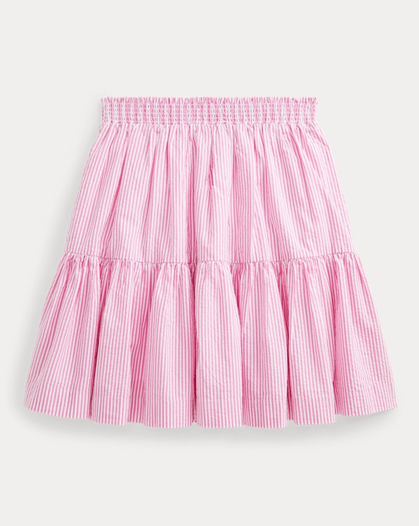 Striped Cotton Seersucker Skirt