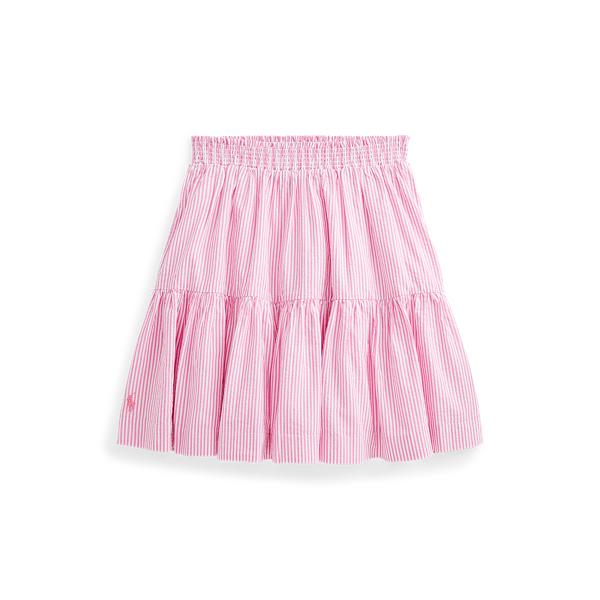폴로 랄프로렌 Polo Ralph Lauren Striped Cotton Seersucker Skirt,Rose/White