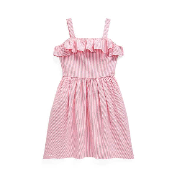 폴로 랄프로렌 Polo Ralph Lauren Striped Cotton Seersucker Dress,Pink/White