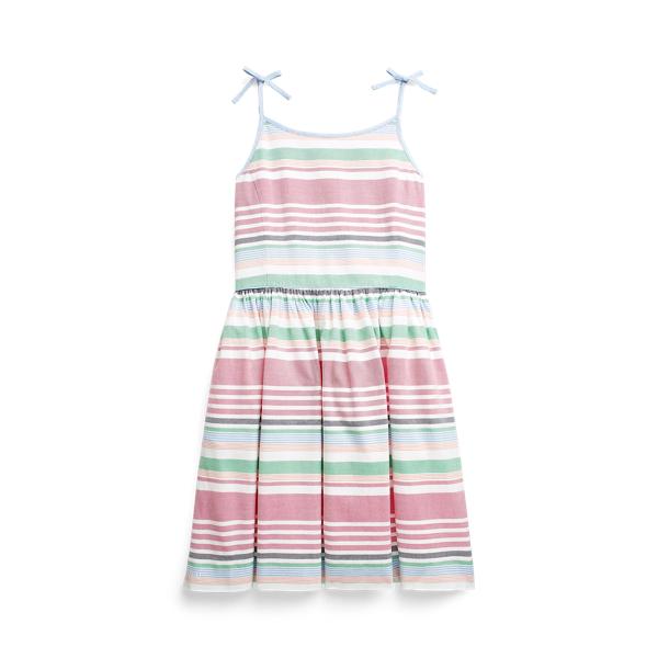 폴로 랄프로렌 Polo Ralph Lauren Striped Cotton Oxford Dress,Pink Multi