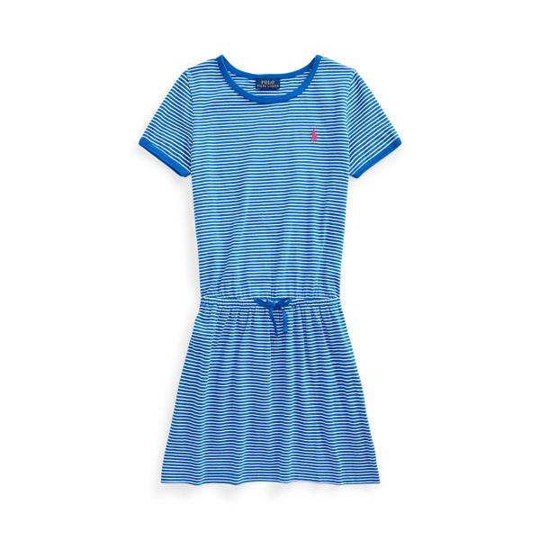 폴로 랄프로렌 Polo Ralph Lauren Striped Cotton Jersey Tee Dress,Heritage Blue/White