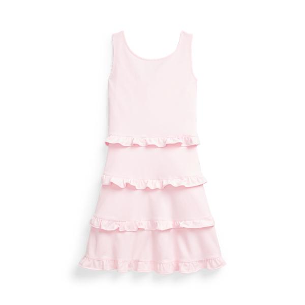 폴로 랄프로렌 Polo Ralph Lauren Ruffled Cotton Jersey Dress,Hint Of Pink