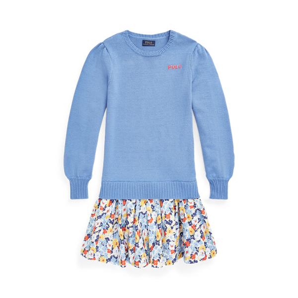 폴로 랄프로렌 Polo Ralph Lauren Floral Skirt Cotton Sweater Dress,Rig Blue