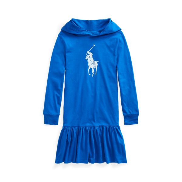 폴로 랄프로렌 Polo Ralph Lauren Big Pony Cotton Jersey Hooded Dress,Metro Blue