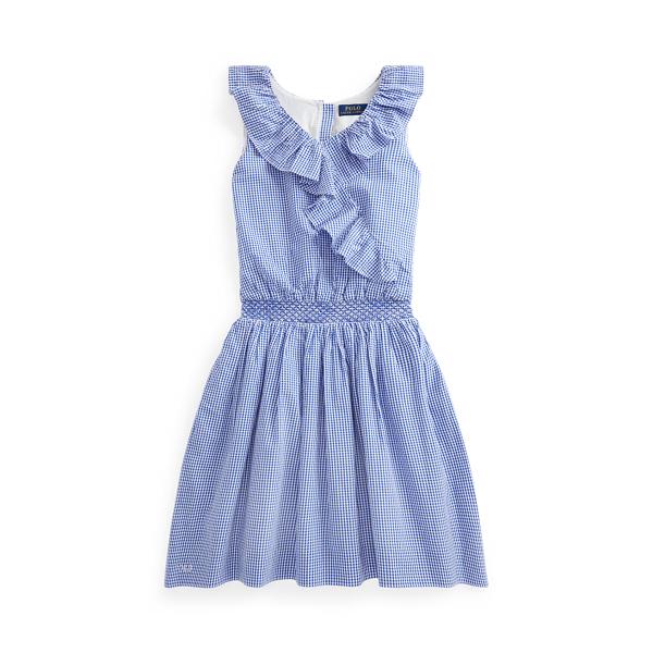 폴로 랄프로렌 Polo Ralph Lauren Gingham Cotton Seersucker Dress,Blue White