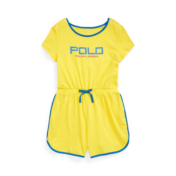 폴로 랄프로렌 Polo Ralph Lauren Logo Cotton Jersey Romper,Lemon Crush