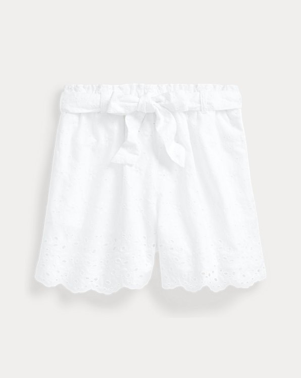 Belted Eyelet Cotton Pull-On Short