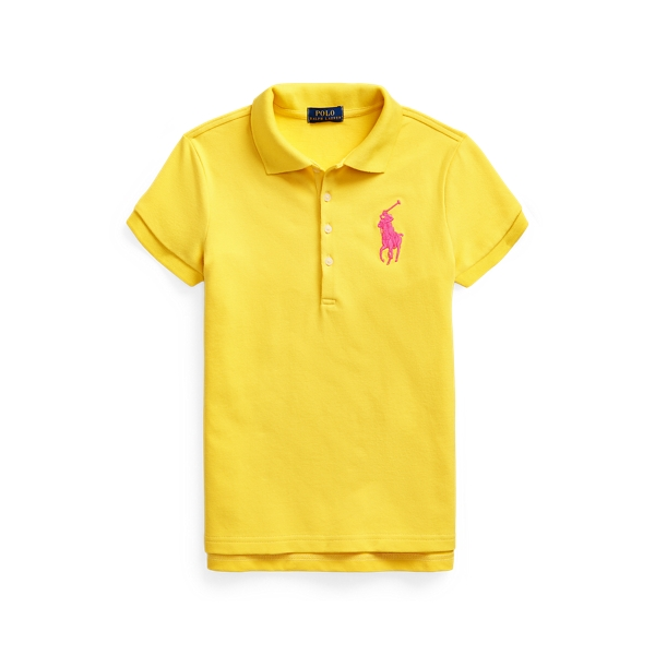 폴로 랄프로렌 Polo Ralph Lauren Big Pony Stretch Mesh Polo Shirt,University Yellow