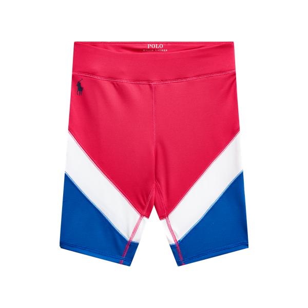 폴로 랄프로렌 Polo Ralph Lauren Color Blocked Stretch Jersey Bike Short,White/Metro Blue/Pink