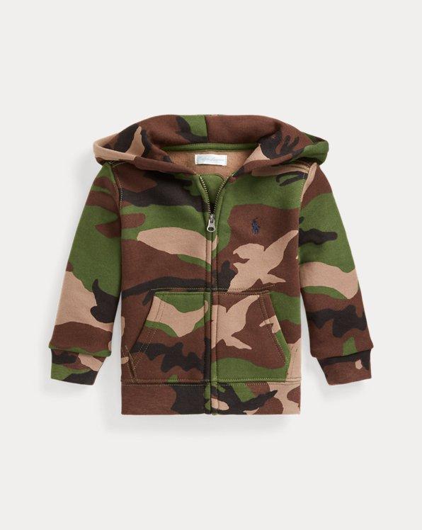 Camouflage-Kapuzenjacke aus Fleece