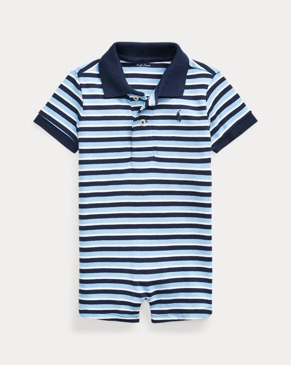 Striped Soft Cotton Polo Shortall