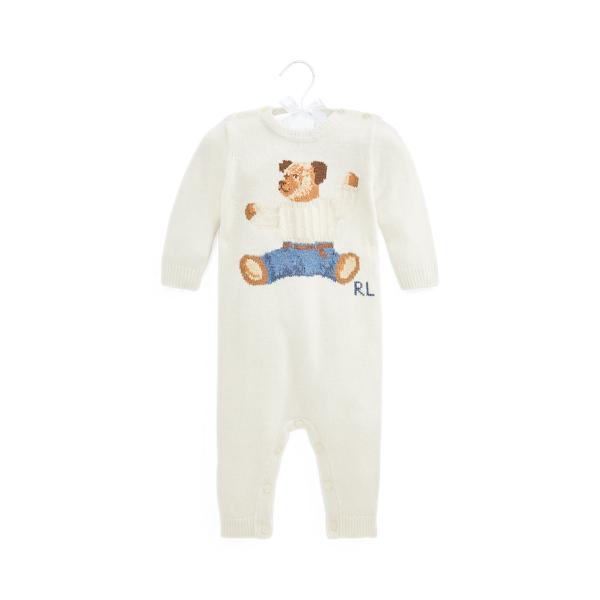 폴로 랄프로렌 Polo Ralph Lauren Polo Bear Cashmere Blend Coverall,Warm White