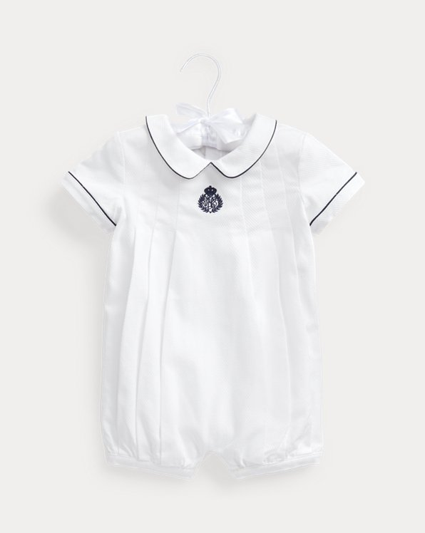 Pleated Stretch Cotton Pique Shortall