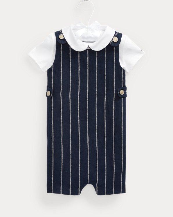 Cotton Bodysuit & Linen Overall Set