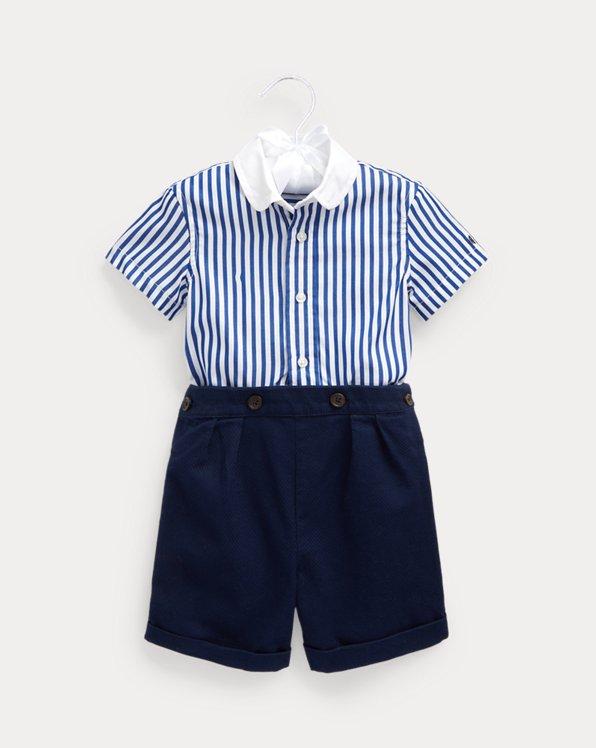 Striped Shirt & Pleated Short Set