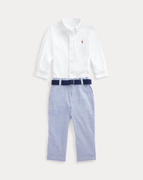 Shirt, Belt & Seersucker Pant Set