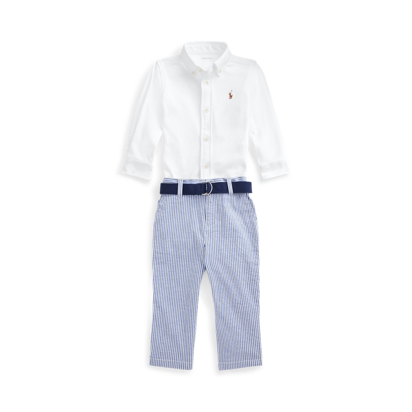 Ralph Lauren SHIRT, BELT & SEERSUCKER PANT SET