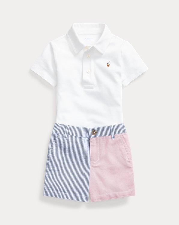 Polo Shirt & Patchwork Short Set