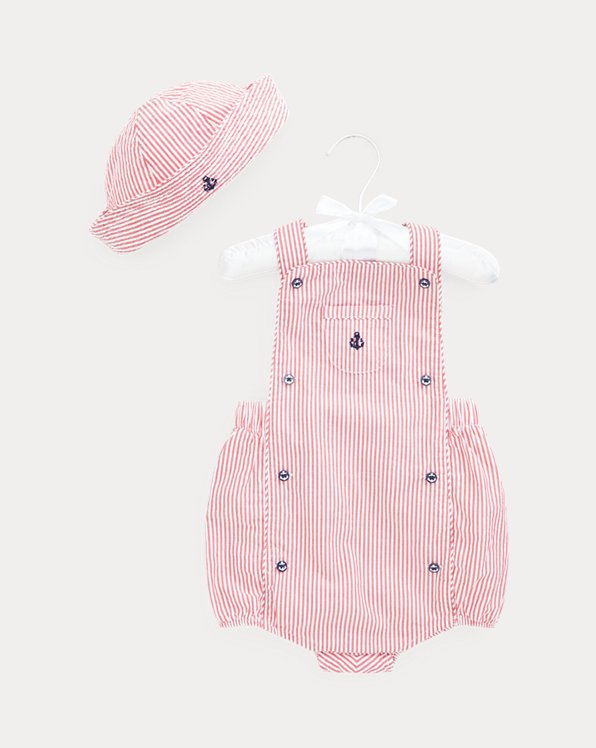 Embroidered Seersucker Overall & Hat Set