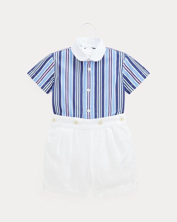 Stretch Poplin Shirt & Linen Short Set